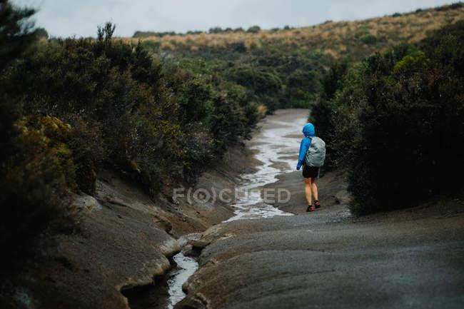 Viaggiatore in piedi al fiume in montagne — Foto stock