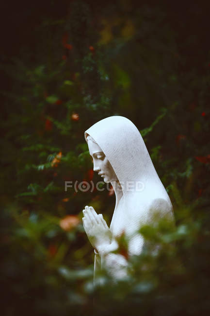 Praying female statue in green bushes — Stock Photo