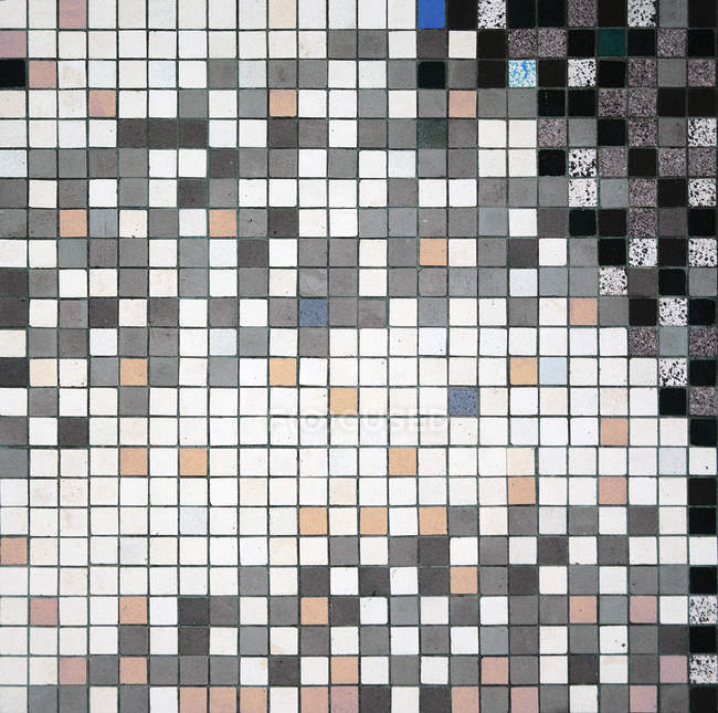 Colorful mixed tiles on wall texture — Stock Photo