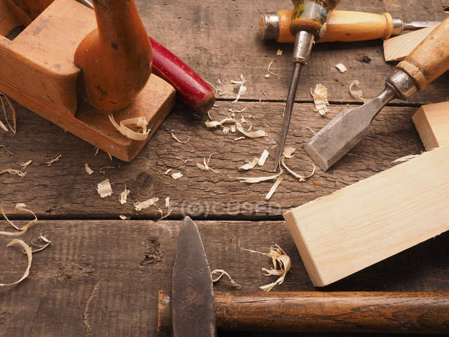 Carpenter workshop tools on wooden table — Stock Photo