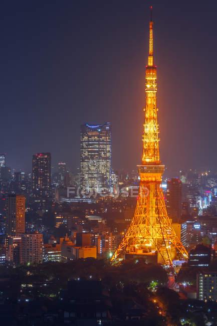 16 avril 2014. Tokyo, Japon. Paysage urbain avec la tour de Tokyo dans la nuit — Photo de stock