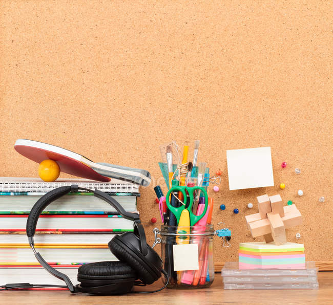 School accessories on desktop — Stock Photo