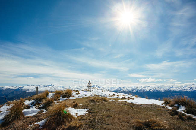 Traveler person in mountains hiking — Stock Photo