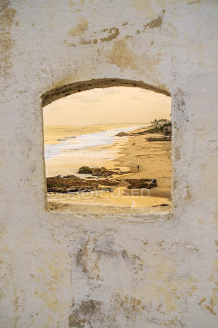 Seascape seeing from cannon aperture in fortress — Stock Photo