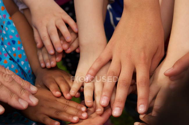 Close-up view of playing children hands — Stock Photo