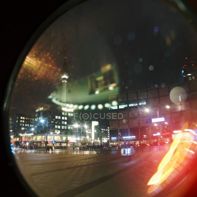 Berlin night illuminated cityscape with tv tower, Germany — Stock Photo