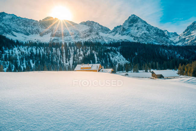 Alpine winter on a sunny day — Stock Photo