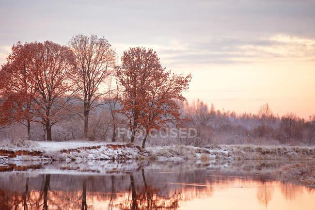 Первый снег на Осенняя река — стоковое фото