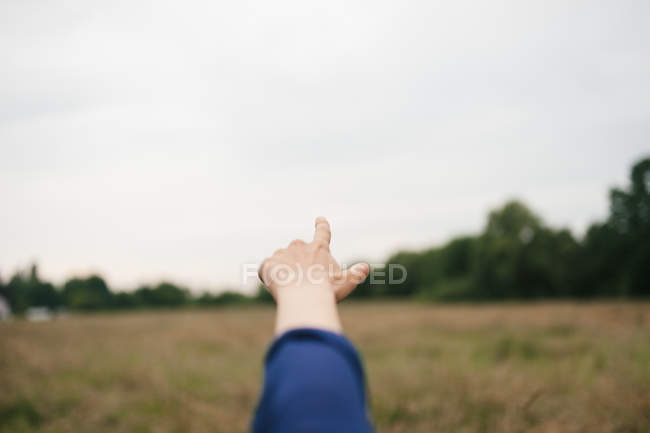 Close-up view of person hand pointing on meadow — Stock Photo