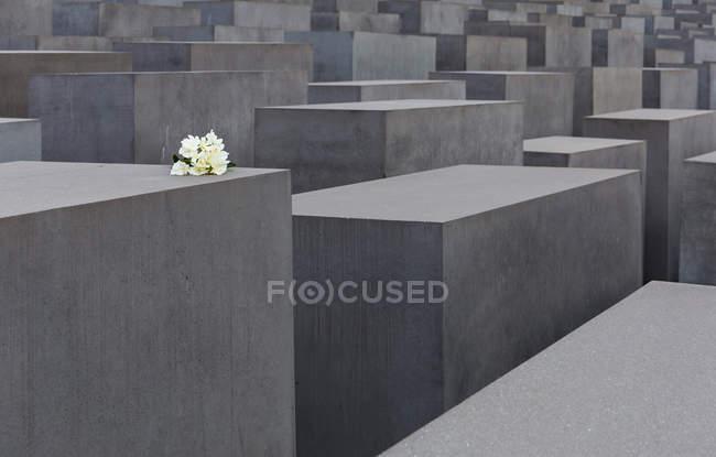 Holocaust memorial in Berlin, concrete blocks with flowers