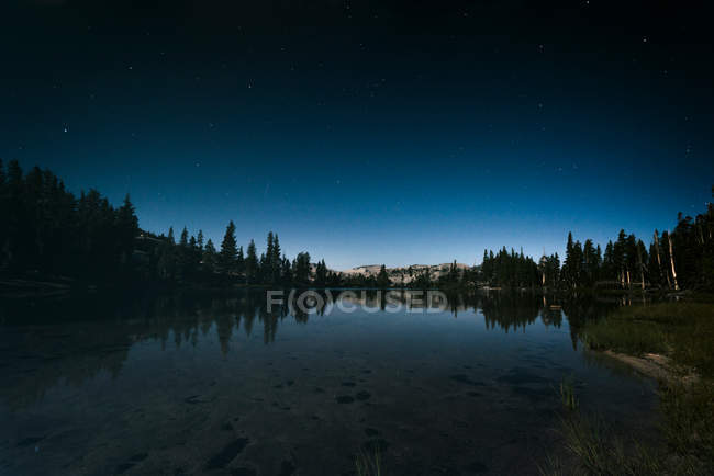 Night landscape with starry sky over lake and forest landscape, mountains on background — Stock Photo