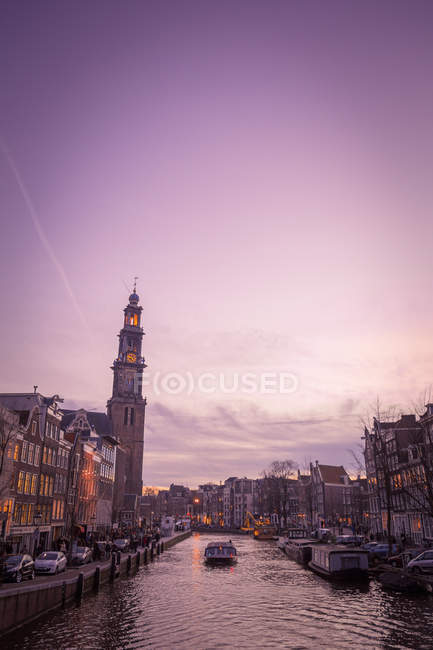 City buildings architecture at sunset in Netherlands — Stock Photo