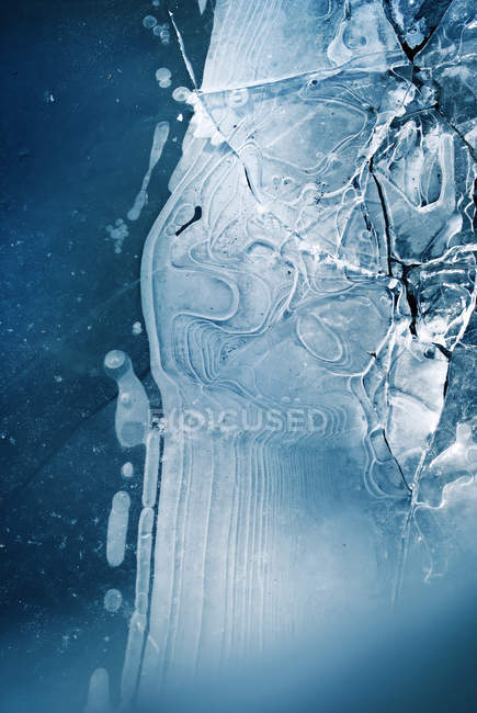 Ice texture, frozen lake structure — Stock Photo