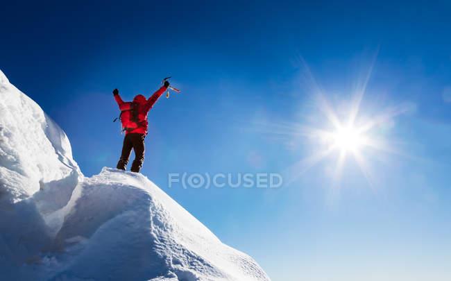 Bergsteiger feiert Eroberung des Gipfels — Stockfoto