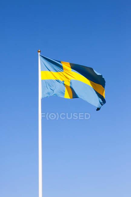 Bandiera svedese che fluttua dal vento — Foto stock