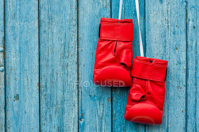 Pair of red boxing gloves hanging on blue wall — Stock Photo