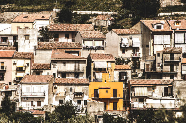 Aerial view old Sicily village with houses facades, Italy — Stock Photo