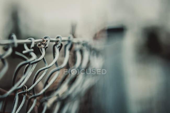 Барьер линии границы проволоки, крупным планом зрения, выборочный фокус — стоковое фото