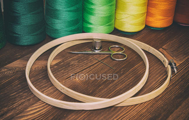 Wooden hoops for embroidery — Stock Photo