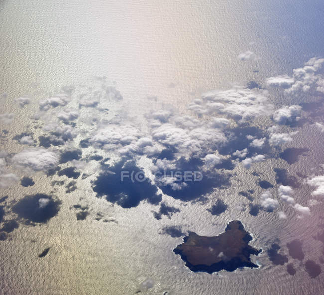 Scenic aerial view of canaries islands from airplane window — Stock Photo
