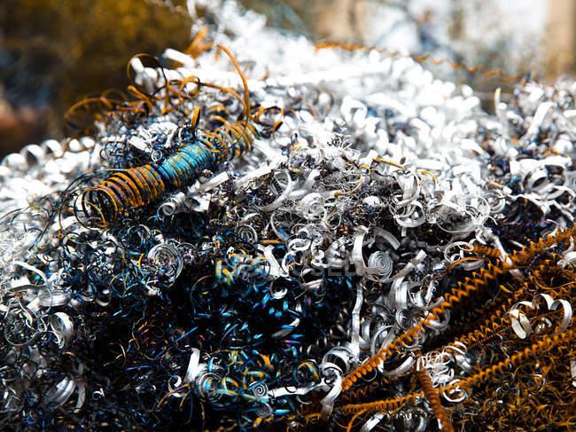 Recycling scrap metal garbage, junkyard — Stock Photo