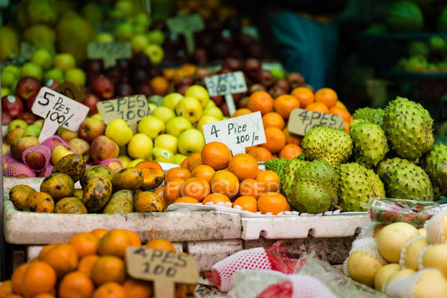 Different fruits with prices tags — Stock Photo