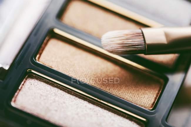 Pincel de maquillaje profesional y paleta de sombra de ojos - foto de stock