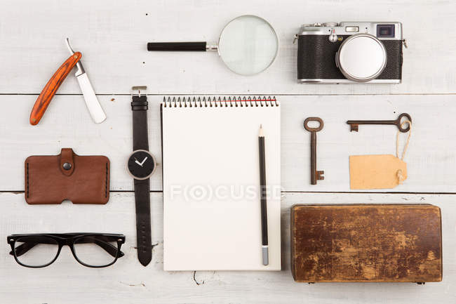 Flat lay of notebook and various vintage things — Stock Photo