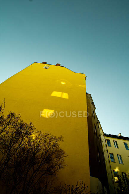 Yellow building facade with trees in street, residential structure — Stock Photo