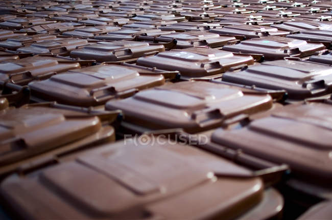 Rows of many trash containers elevated view — Stock Photo