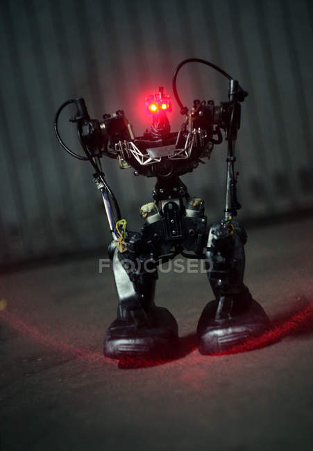 March 15, 2016. Closeup tilted view of robot with red eyes — Stock Photo