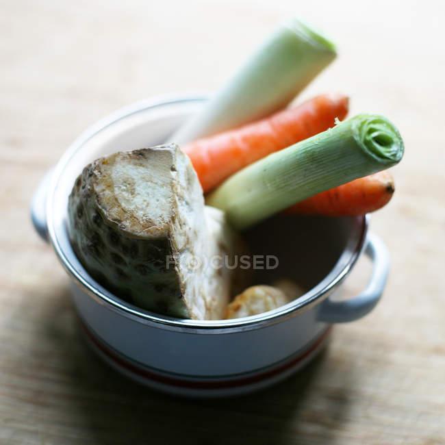 Rohes Gemüse in kleinen Topf — Stockfoto