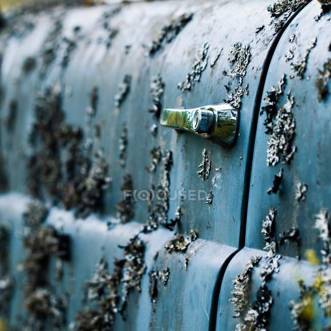 Primo piano di vecchia automobile retrò coperto di licheni — Foto stock