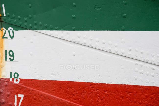 Красочные металл лодку детали с цифр и чисел — стоковое фото