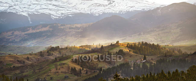 Sunny evening in spring mountains. — Stock Photo