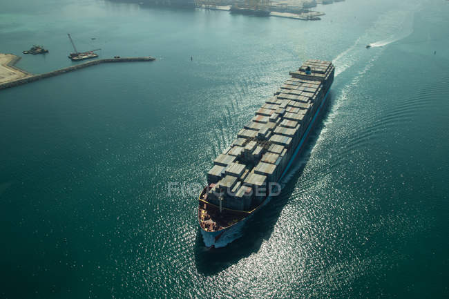 View of a huge cargo ship loaded with containers, aerial view — Stock Photo
