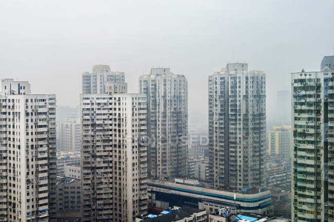 City residential area with high rise buildings, elevated view, Nanjing, China — Stock Photo