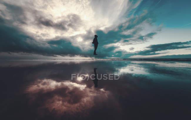 Surface de l'eau et vol silhouette — Photo de stock