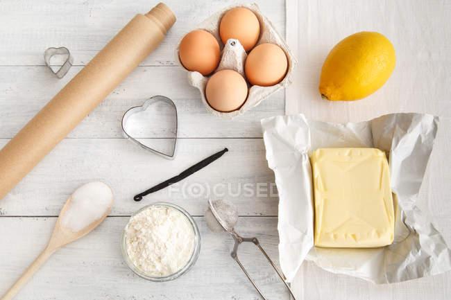 Uova con burro e farina — Foto stock