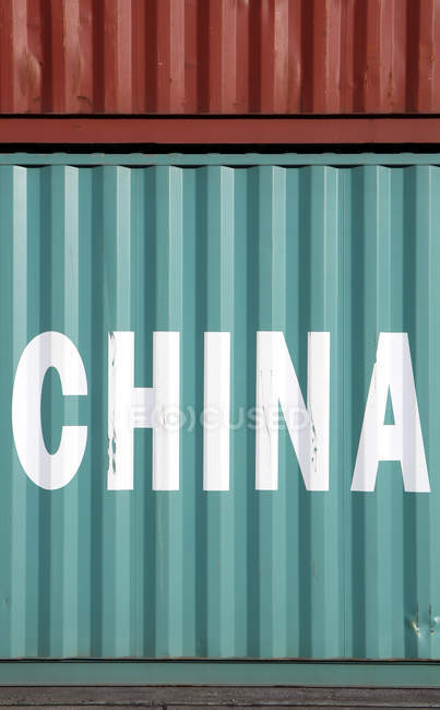 Metal cargo container with china labeling — Stock Photo