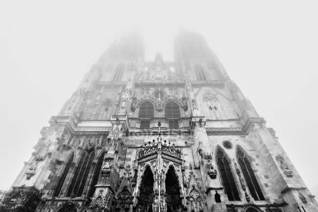 Niedrigen Winkel Ansicht des Regensburger Doms in Monochrom, Deutschland — Stockfoto