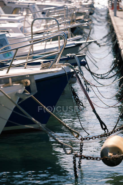 Details of yachts decks anchored in harbor — Stock Photo