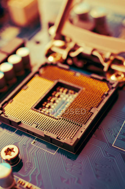 Closeup of electrical circuit and motherboard — Stock Photo