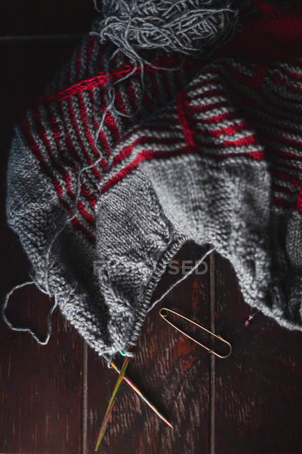 Close-up view of unfinished knitted blanket — Stock Photo