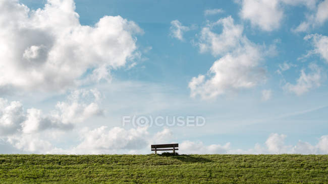 Bench on grass field — Stock Photo