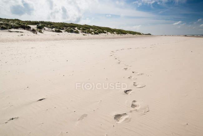 Pegadas na praia arenosa do mar — Fotografia de Stock