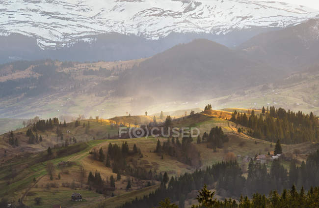 Evening light in spring carpathian mountains — Stock Photo