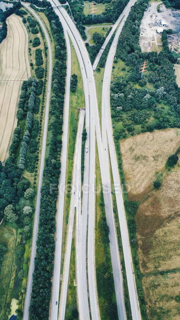 Aerial view on transportation infrastructure, roads — green
