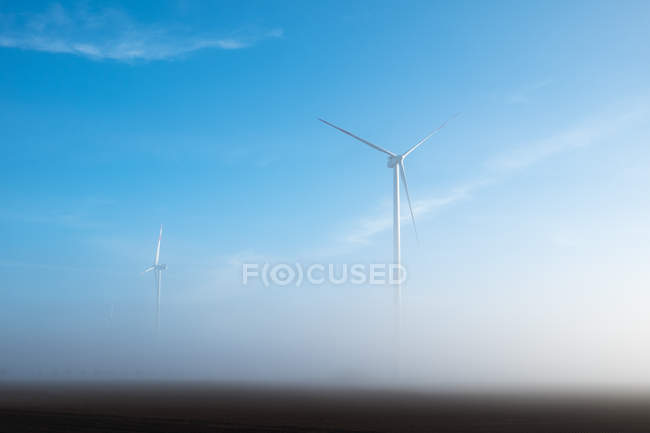 Wind mills in the morning fog — Stock Photo