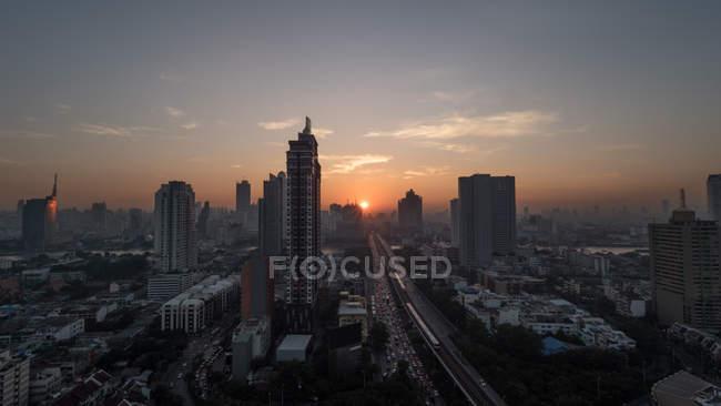 Bangkok cityscape at sunset — Stock Photo